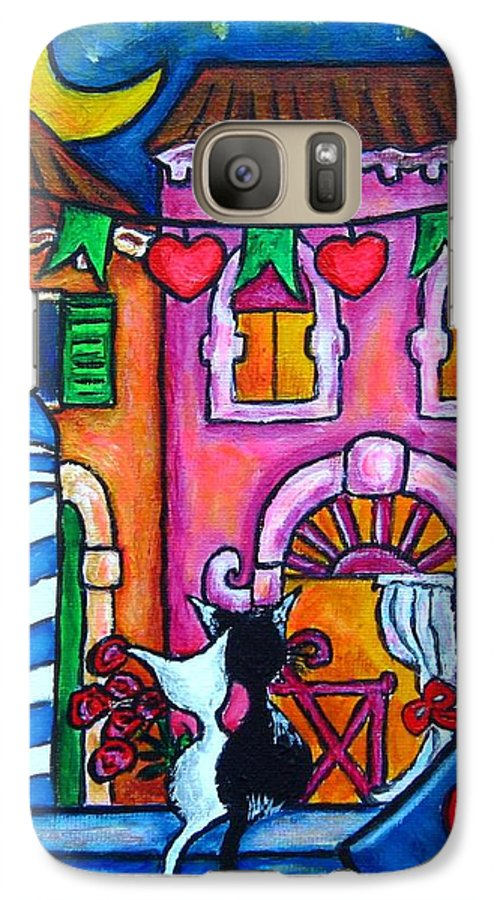 Cats Galaxy S7 Case featuring the painting Amore In Venice by Lisa Lorenz