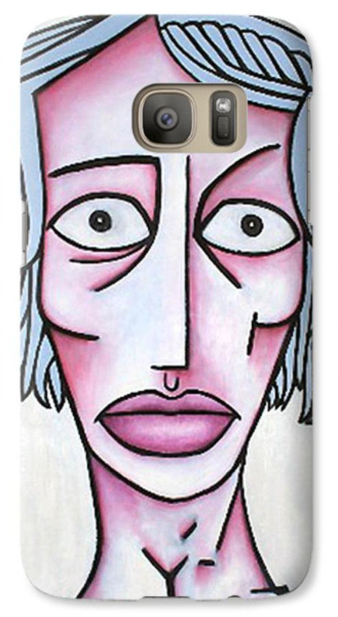 Potrait Galaxy S7 Case featuring the painting amy by Thomas Valentine