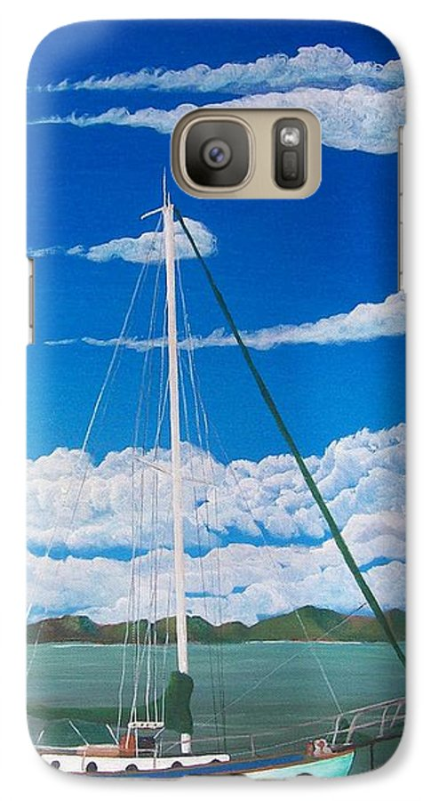 Anchored Galaxy S7 Case featuring the painting Anchored by Tony Rodriguez