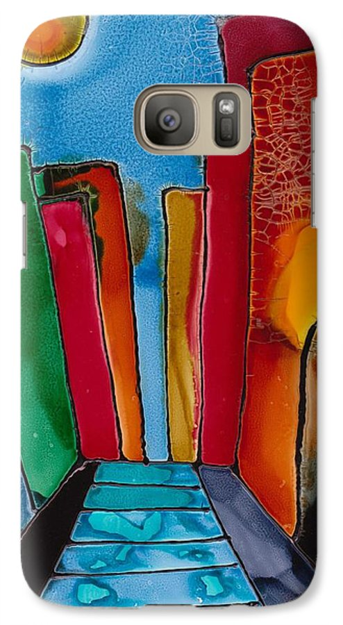 City Galaxy S7 Case featuring the mixed media Ancient City by Susan Kubes