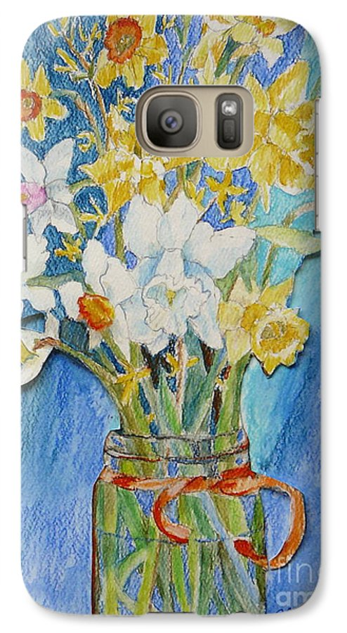 Flowers Galaxy S7 Case featuring the painting Angels Flowers by Jan Bennicoff