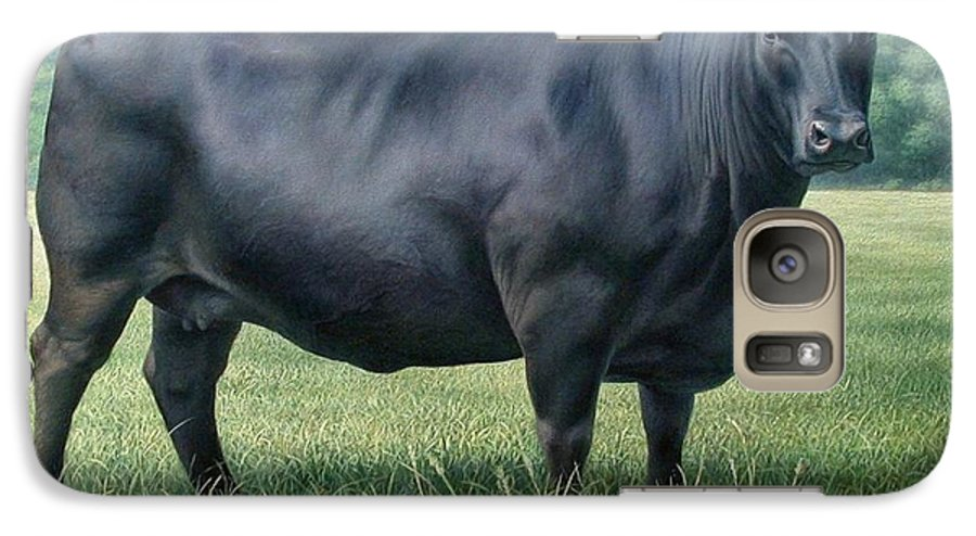 Black Angus Cow Galaxy S7 Case featuring the painting Angus Cow 182m 2 2007 by Hans Droog