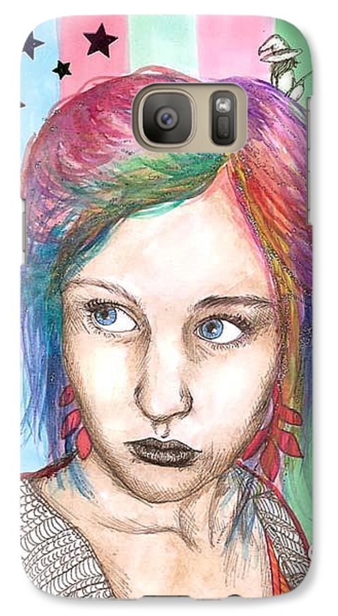 Stars Galaxy S7 Case featuring the drawing Anne Sofie by Freja Friborg