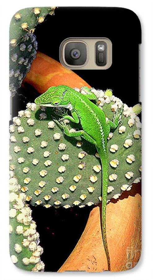 Nature Galaxy S7 Case featuring the photograph Anole Hanging Out With Cactus by Lucyna A M Green