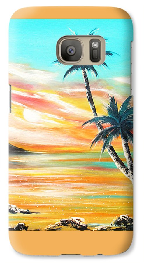Sunset Galaxy S7 Case featuring the painting Another Sunset In Paradise by Gina De Gorna