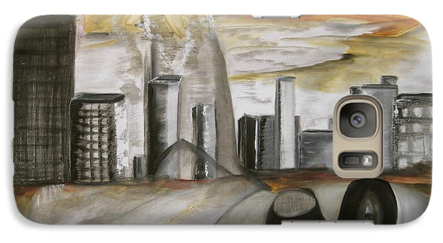 Apocalypse City End Futurism Inch Nails Nin Nine Oil Painting Times Year Zero Galaxy S7 Case featuring the painting Another Version Of The Truth by Darkest Artist