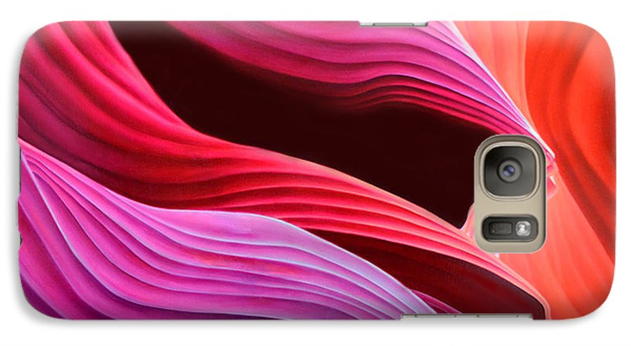 Antelope Canyon Galaxy S7 Case featuring the painting Antelope Waves by Anni Adkins