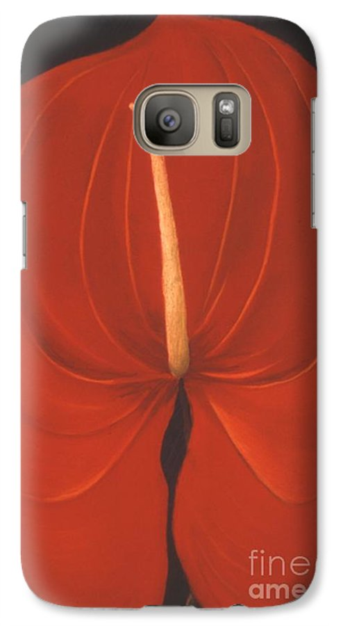 Anthurium Galaxy S7 Case featuring the painting Anthurium by Mary Erbert