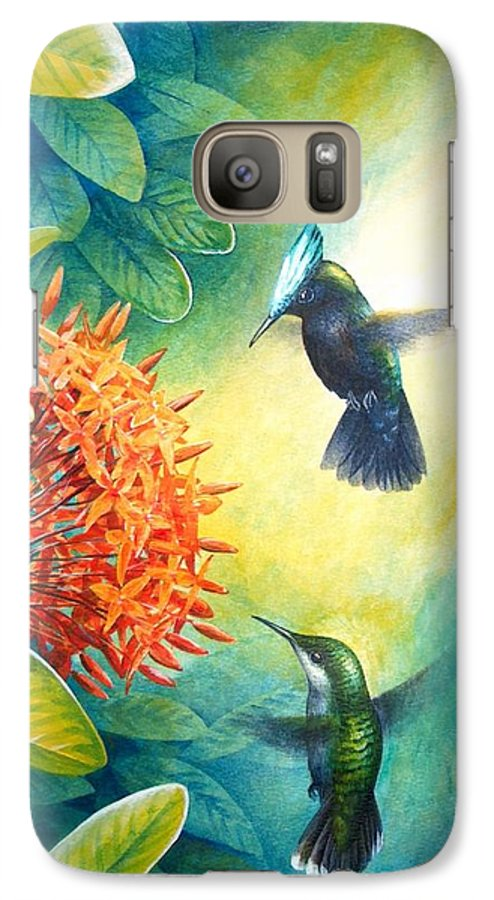 Chris Cox Galaxy S7 Case featuring the painting Antillean Crested Hummingbirds And Ixora by Christopher Cox