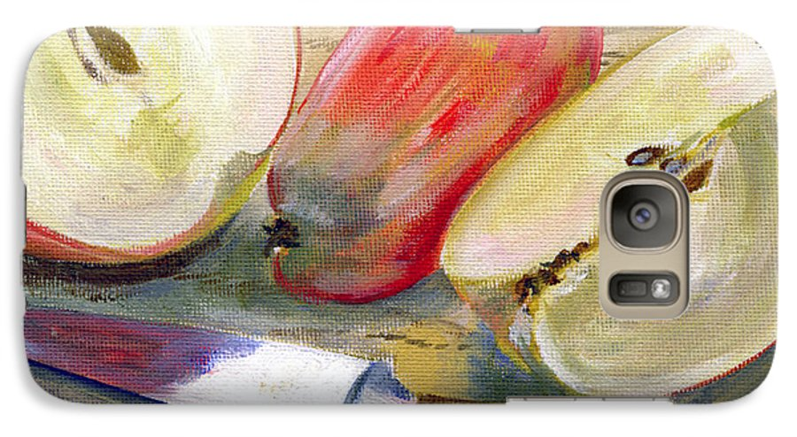 Still-life Galaxy S7 Case featuring the painting Apple by Sarah Lynch