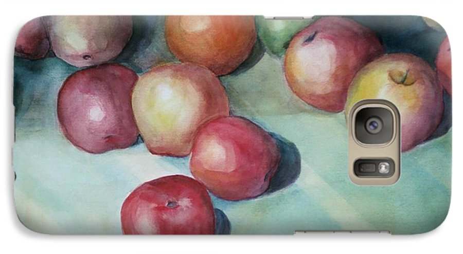 Orange Galaxy S7 Case featuring the painting Apples And Orange by Jun Jamosmos