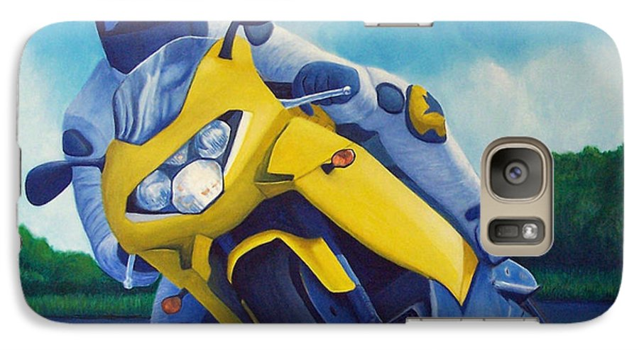 Motorcycle Galaxy S7 Case featuring the painting Aprilla - Tuesday Afternoon by Brian Commerford