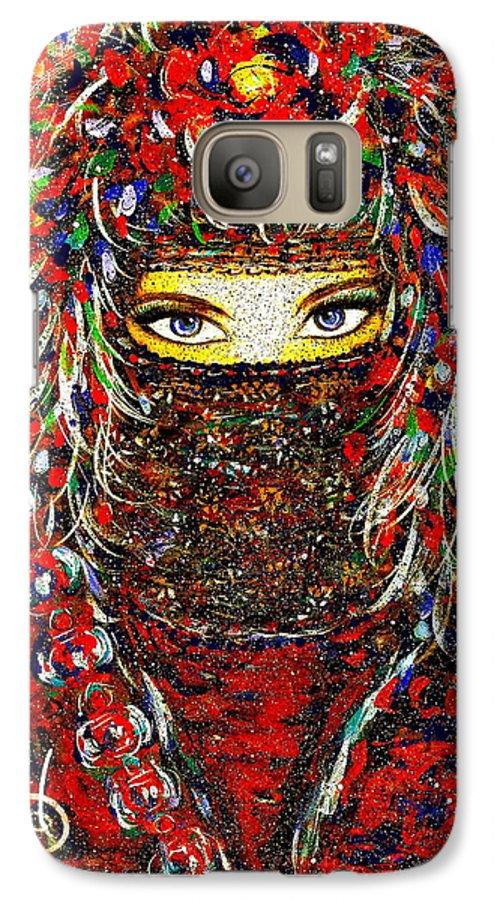 Woman Galaxy S7 Case featuring the painting Arabian Eyes by Natalie Holland