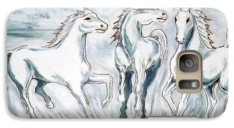 Horses Galaxy S7 Case featuring the painting Arabian Roots by Marco Morales