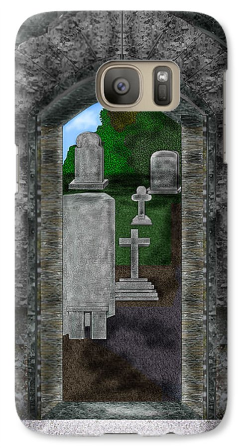 Digital Landscape Galaxy S7 Case featuring the painting Arches And Cross In Ireland by Anne Norskog