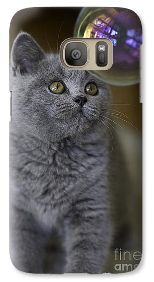 Cat Galaxy S7 Case featuring the photograph Archie With Bubble by Avalon Fine Art Photography