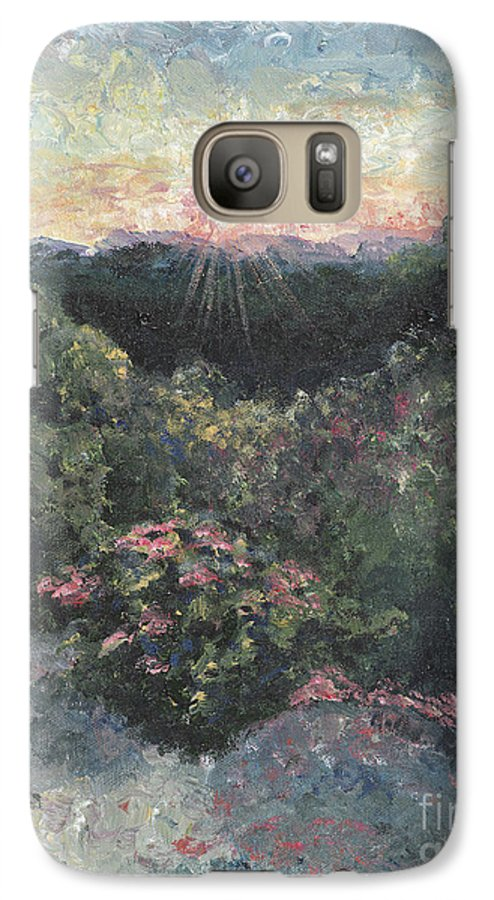 Landscape Galaxy S7 Case featuring the painting Arkansas Mountain Sunset by Nadine Rippelmeyer