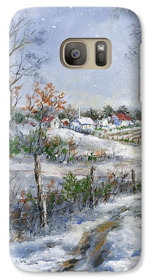 Snowfall Galaxy S7 Case featuring the painting Around The Bend Sold by Virginia Potter