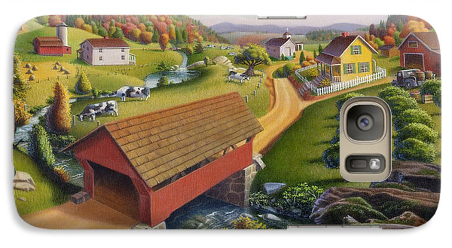 Covered Bridge Galaxy S7 Case featuring the painting Folk Art Covered Bridge Appalachian Country Farm Summer Landscape - Appalachia - Rural Americana by Walt Curlee