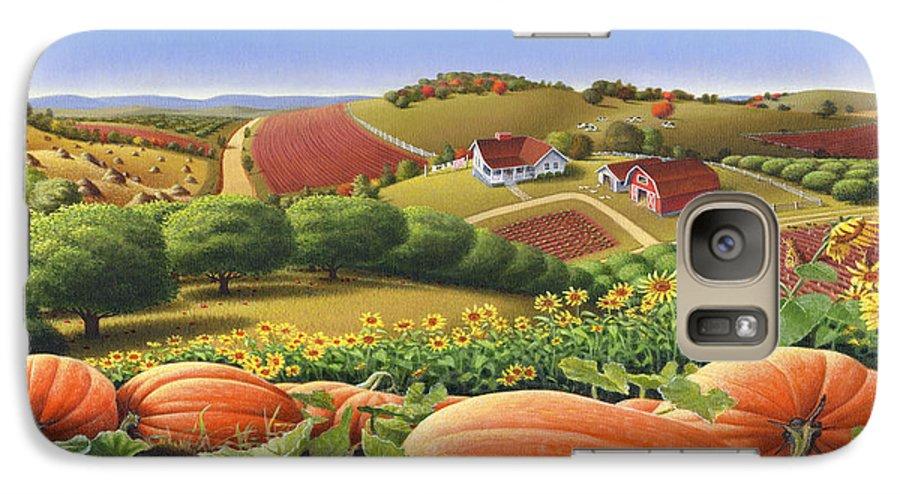 Pumpkin Galaxy S7 Case featuring the painting Farm Landscape - Autumn Rural Country Pumpkins Folk Art - Appalachian Americana - Fall Pumpkin Patch by Walt Curlee