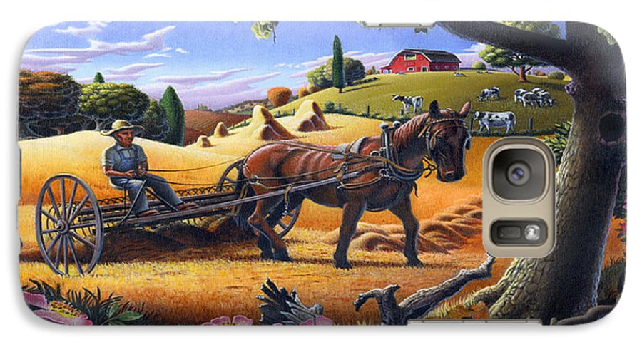 Raking Hay Galaxy S7 Case featuring the painting Raking Hay Field Rustic Country Farm Folk Art Landscape by Walt Curlee