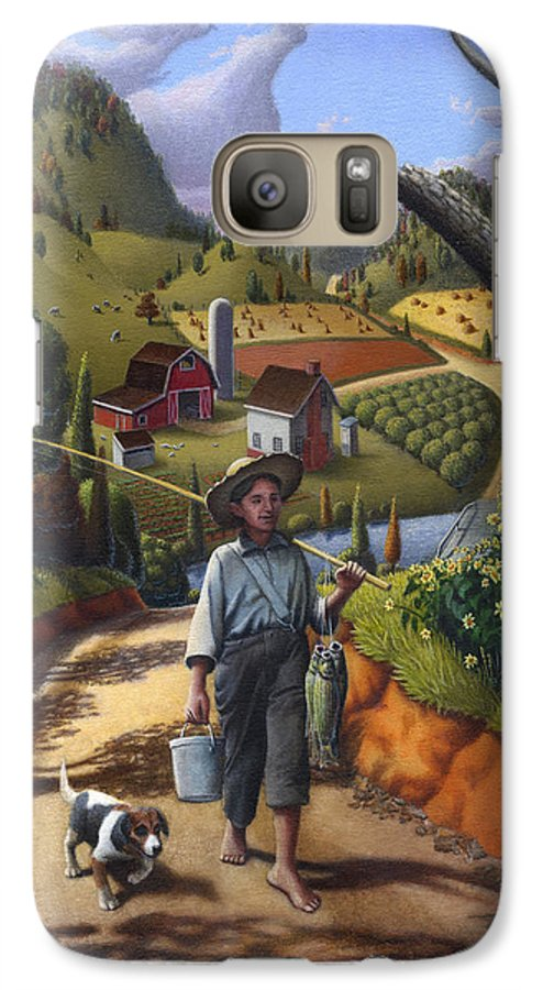 Boy And Dog Galaxy S7 Case featuring the painting Boy And Dog Farm Landscape - Flashback - Childhood Memories - Americana - Painting - Walt Curlee by Walt Curlee