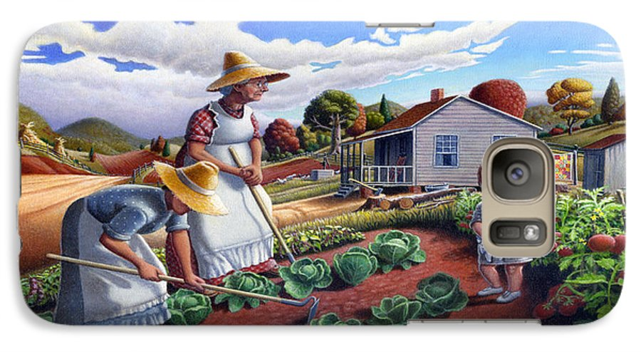Farm Family Galaxy S7 Case featuring the painting Family Vegetable Garden Farm Landscape - Gardening - Childhood Memories - Flashback - Homestead by Walt Curlee