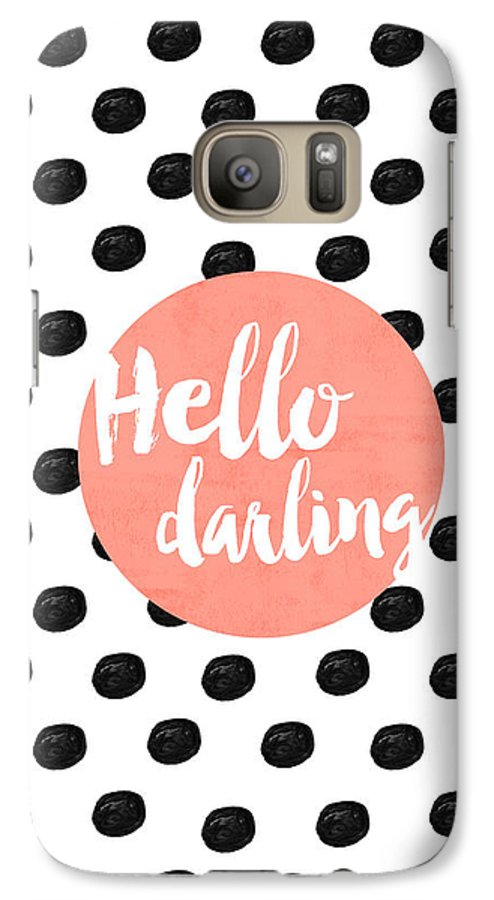 Hello Darling Coral And Dots Galaxy S7 Case featuring the digital art Hello Darling Coral And Dots by Allyson Johnson