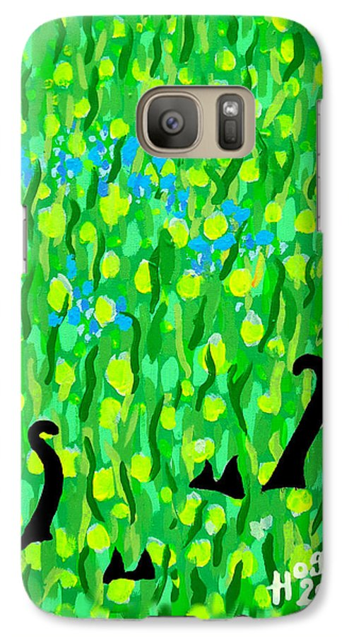 Flowers Galaxy S7 Case featuring the painting Two Black Cats by Alan Hogan