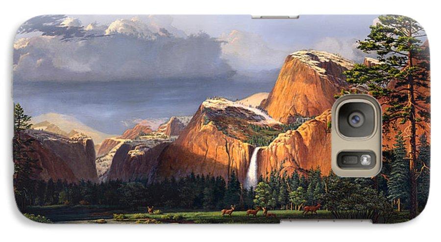 American Galaxy S7 Case featuring the painting Deer Meadow Mountains Western Stream Deer Waterfall Landscape Oil Painting Stormy Sky Snow Scene by Walt Curlee