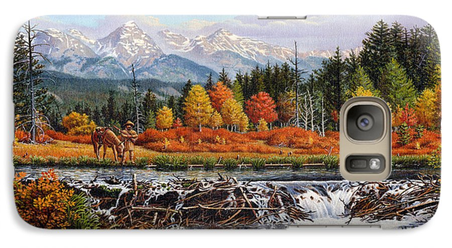 Western Mountain Landscape Galaxy S7 Case featuring the painting Western Mountain Landscape Autumn Mountain Man Trapper Beaver Dam Frontier Americana Oil Painting by Walt Curlee