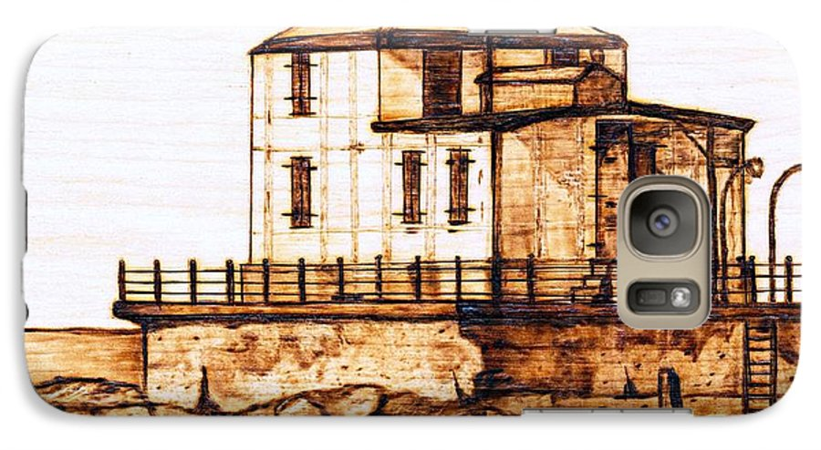 Lighthouse Galaxy S7 Case featuring the pyrography Ashtabula Harbor by Danette Smith