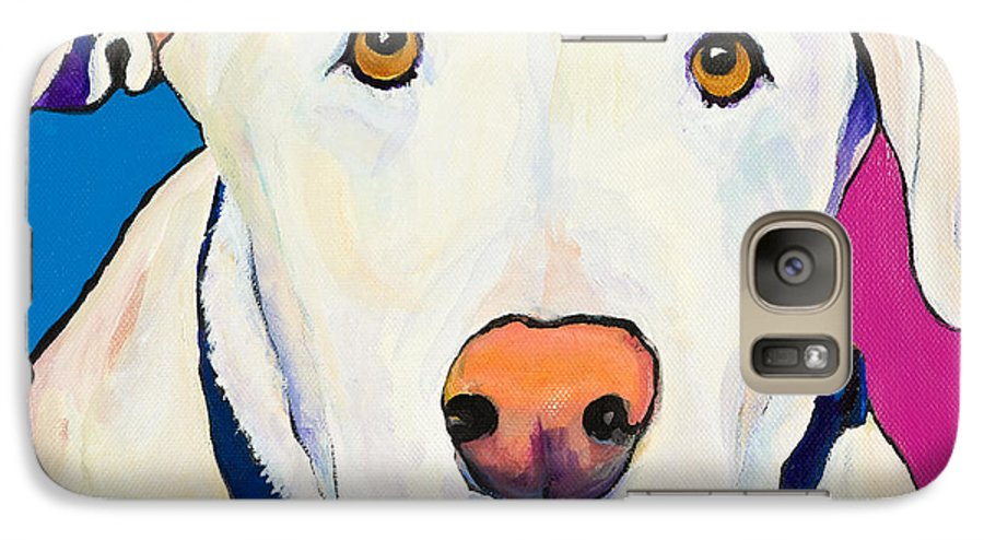 White Lab Yellow Lab Animal Paintings Golden Eyes Square Format Dogs Pets Rescued Galaxy S7 Case featuring the painting Aslinn by Pat Saunders-White