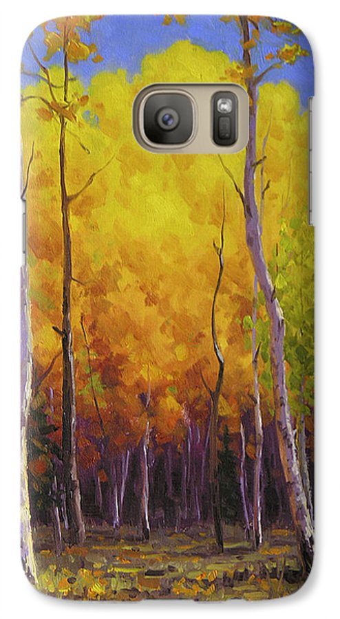 Landscape Galaxy S7 Case featuring the painting Aspen Glow by Cody DeLong