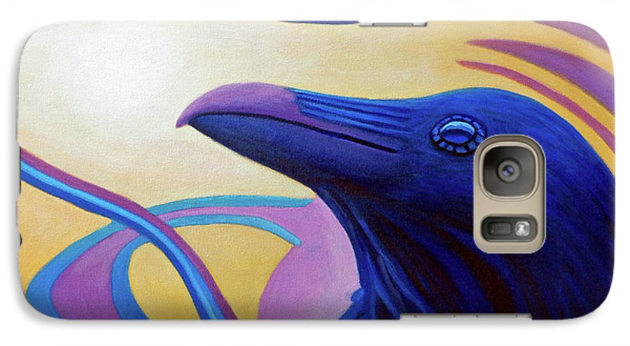 Raven Galaxy S7 Case featuring the painting Astral Raven by Brian Commerford