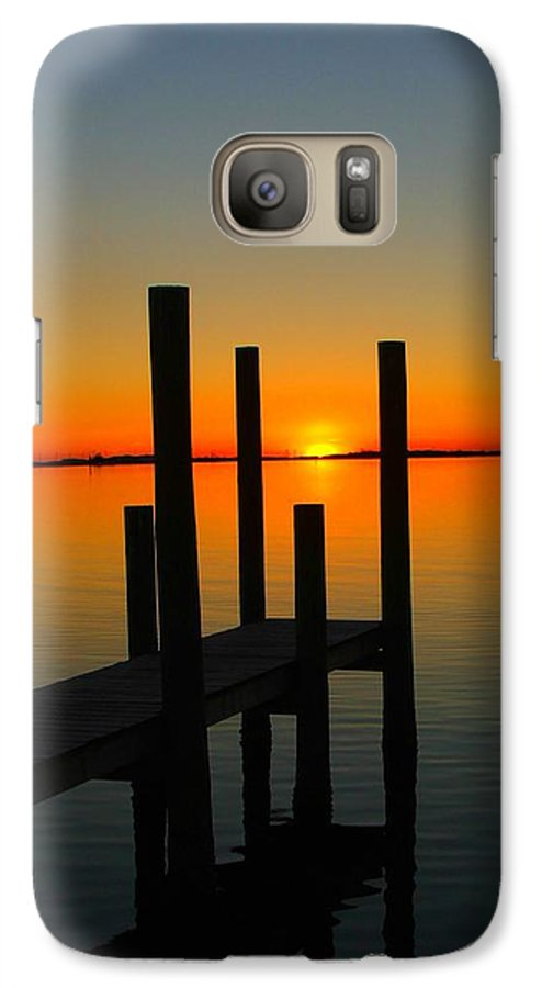 Sunset Galaxy S7 Case featuring the photograph At The Pier by Judy Waller