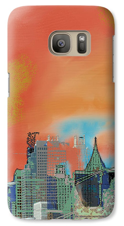 Atlanta Galaxy S7 Case featuring the mixed media Atlanta Abstract After The Tornado by Ann Tracy