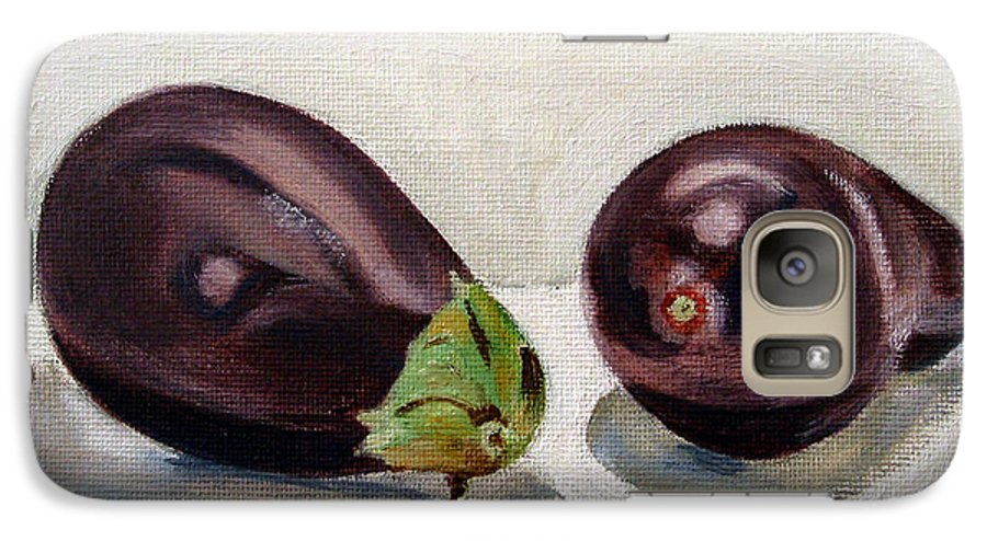 Still-life Galaxy S7 Case featuring the painting Aubergines by Sarah Lynch