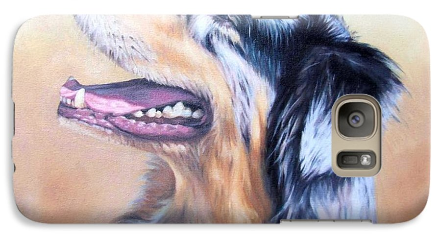 Dog Galaxy S7 Case featuring the painting Australian Shepherd Dog by Nicole Zeug