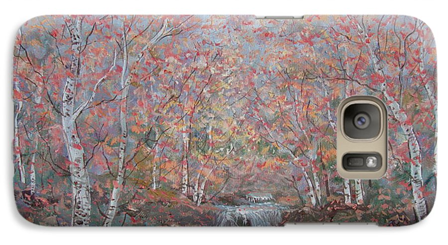 Landscape Galaxy S7 Case featuring the painting Autumn Birch Trees. by Leonard Holland