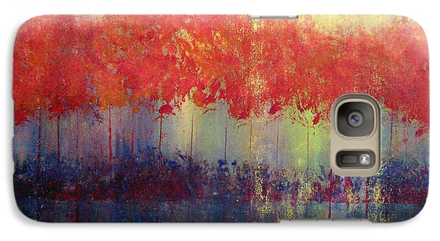 Abstract Galaxy S7 Case featuring the painting Autumn Bleed by Ruth Palmer