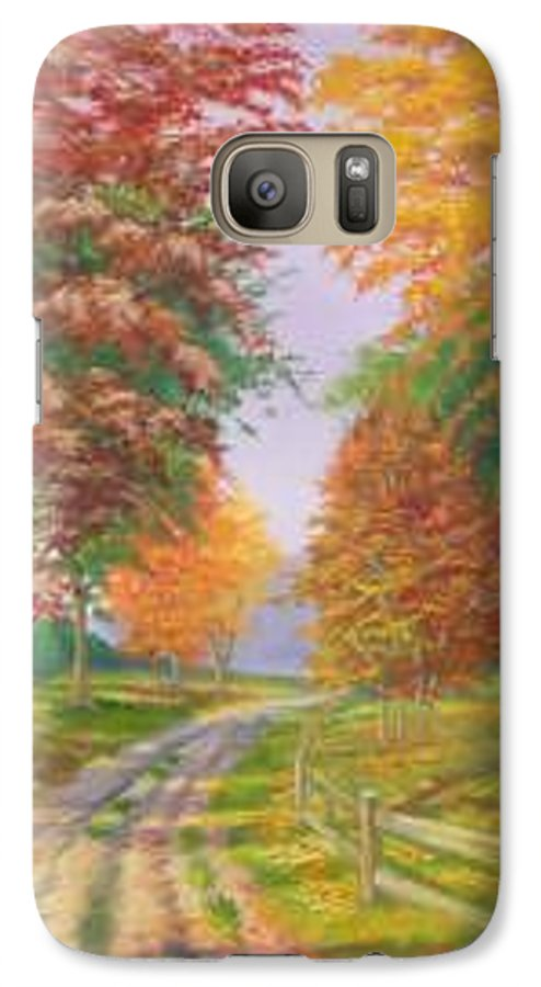 Fall Scene Galaxy S7 Case featuring the painting Autumn Drive by Tan Nguyen