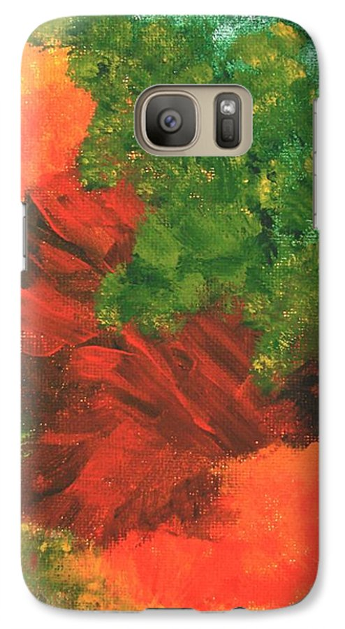 Abstract Galaxy S7 Case featuring the painting Autumn Equinox by Itaya Lightbourne