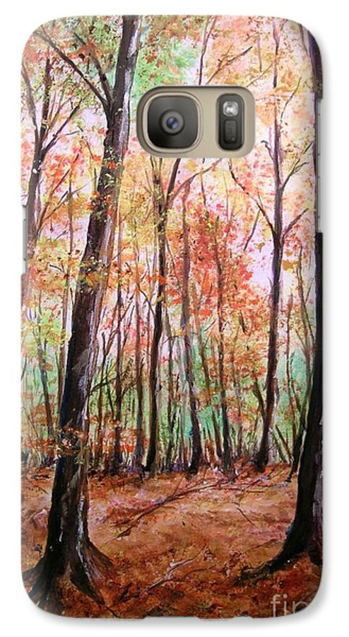 Landscape Galaxy S7 Case featuring the painting Autumn Forrest by Lizzy Forrester