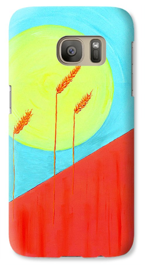 Landscape Galaxy S7 Case featuring the painting Autumn Harvest by J R Seymour