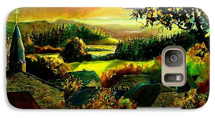 Landscape Galaxy S7 Case featuring the painting Autumn In Our Village Ardennes by Pol Ledent