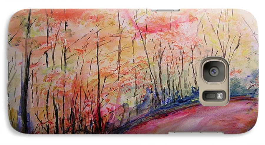 Landsape Galaxy S7 Case featuring the painting Autumn Lane II by Lizzy Forrester