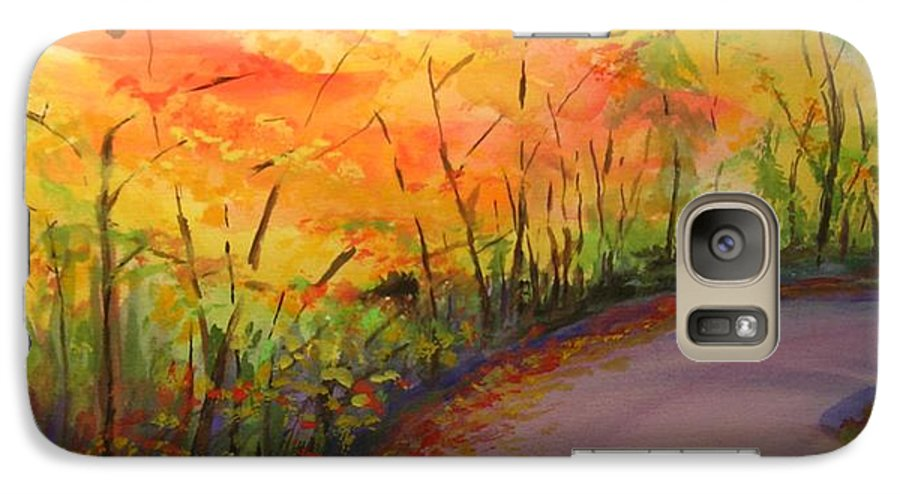 Original Landscape Impressionist Painting Galaxy S7 Case featuring the painting Autumn Lane IIi by Lizzy Forrester