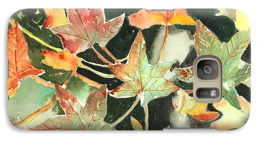 Leaf Galaxy S7 Case featuring the painting Autumn Leaves by Arline Wagner