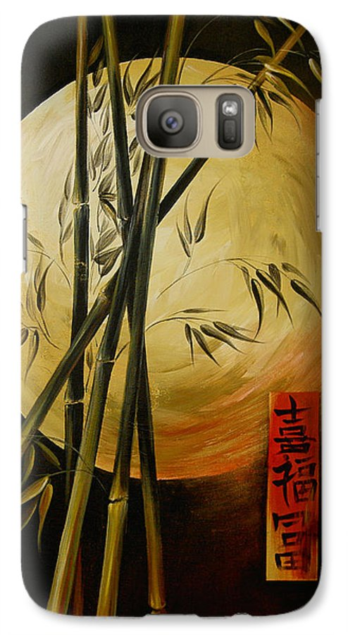 Asian Moon Bamboo Galaxy S7 Case featuring the painting Autumn Moon by Dina Dargo
